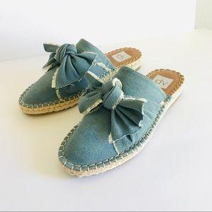 DV Denim Chambray Bow Mules Shoes Dolce Vita 7.5